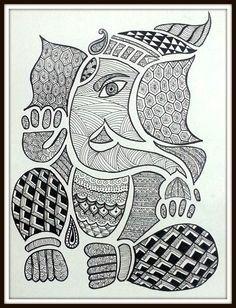 madhubani paintings in black and white  Image result for madhubani paintings in black and white   Madhubani ...