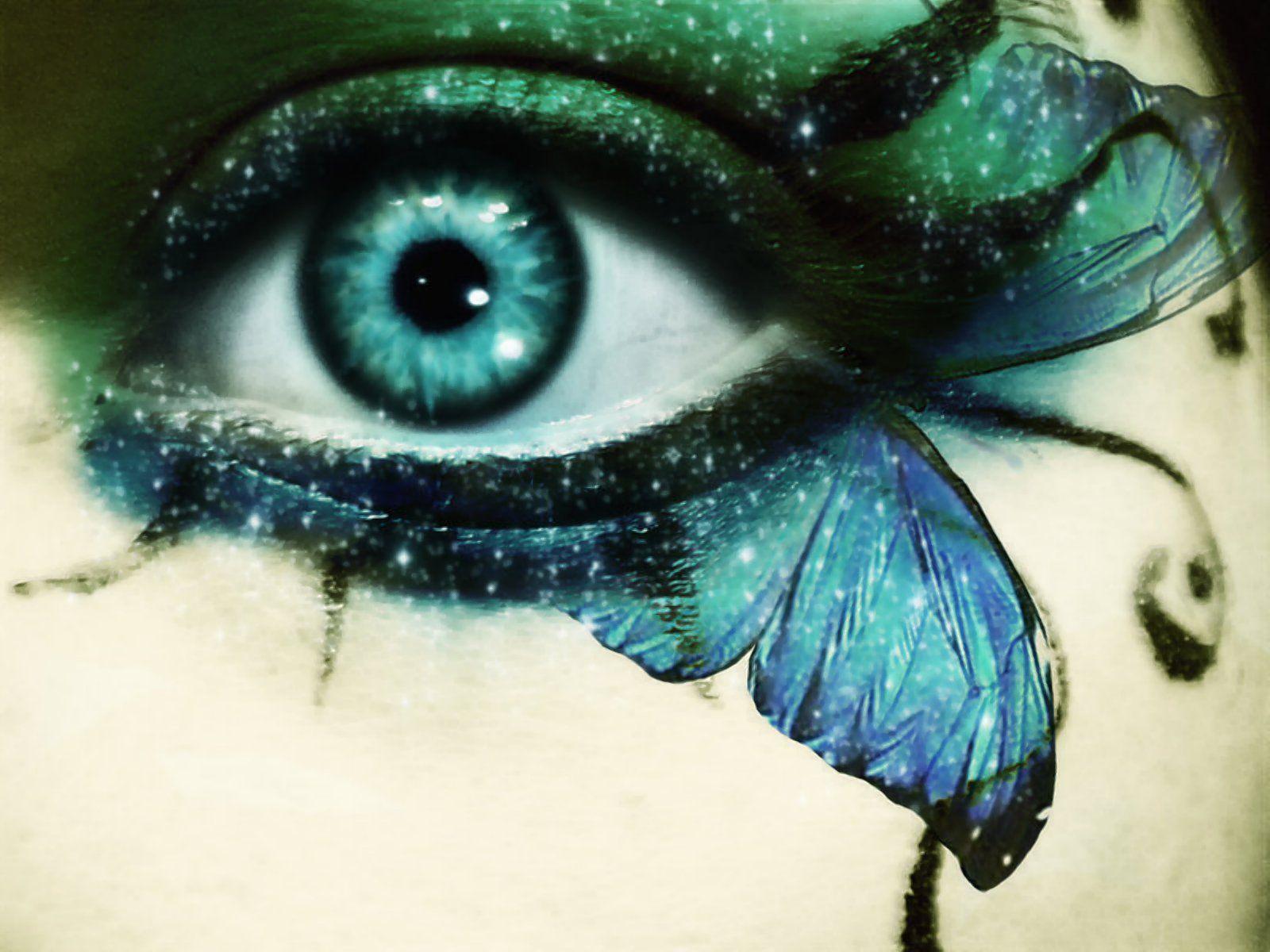 Gr nes auge mit schmetterling augen augen gr ne augen und make up - Blaue augen schminken anleitung mit bildern ...