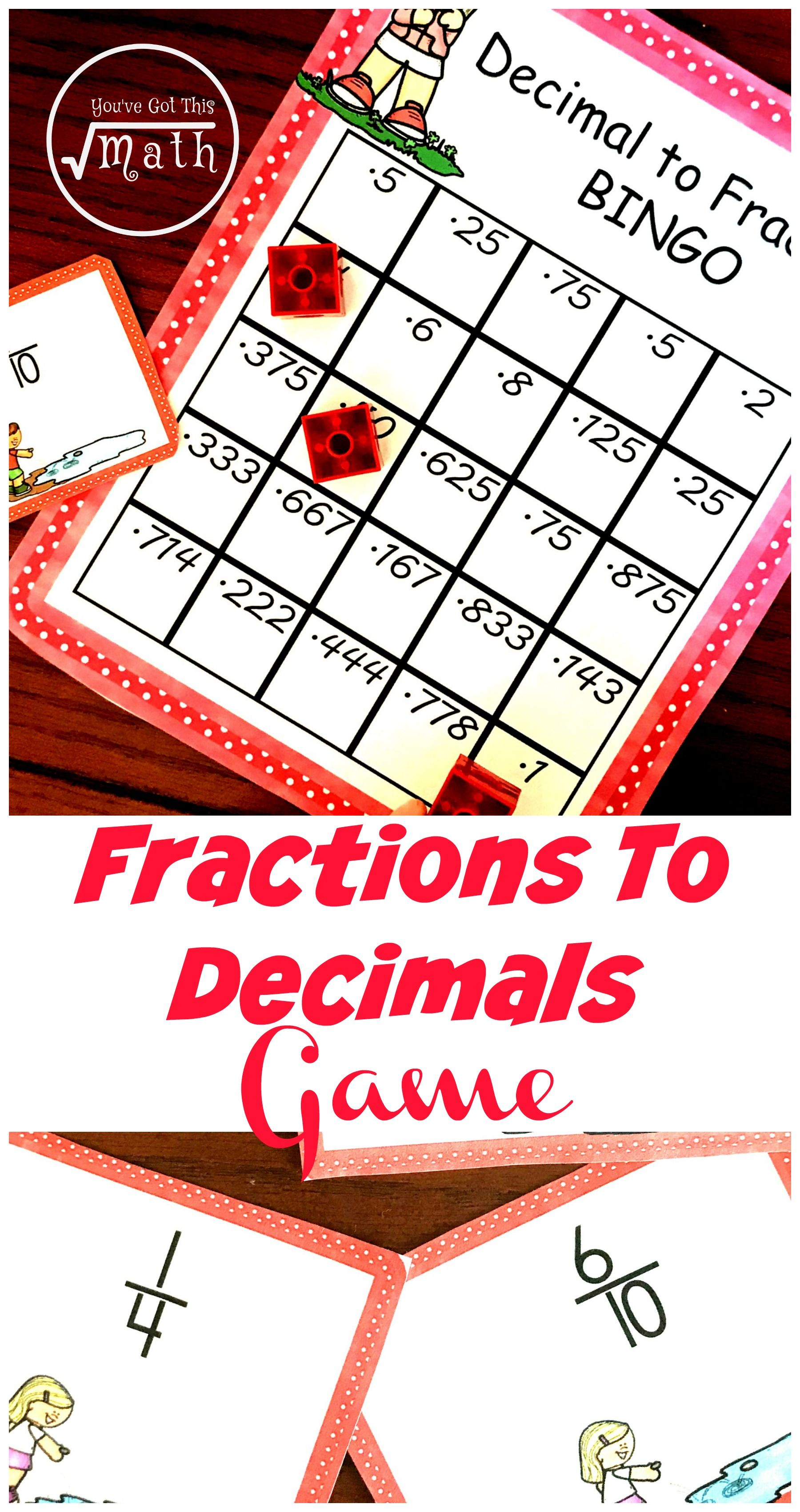 FREE Printable and LowPrep Fraction To Decimal Game in