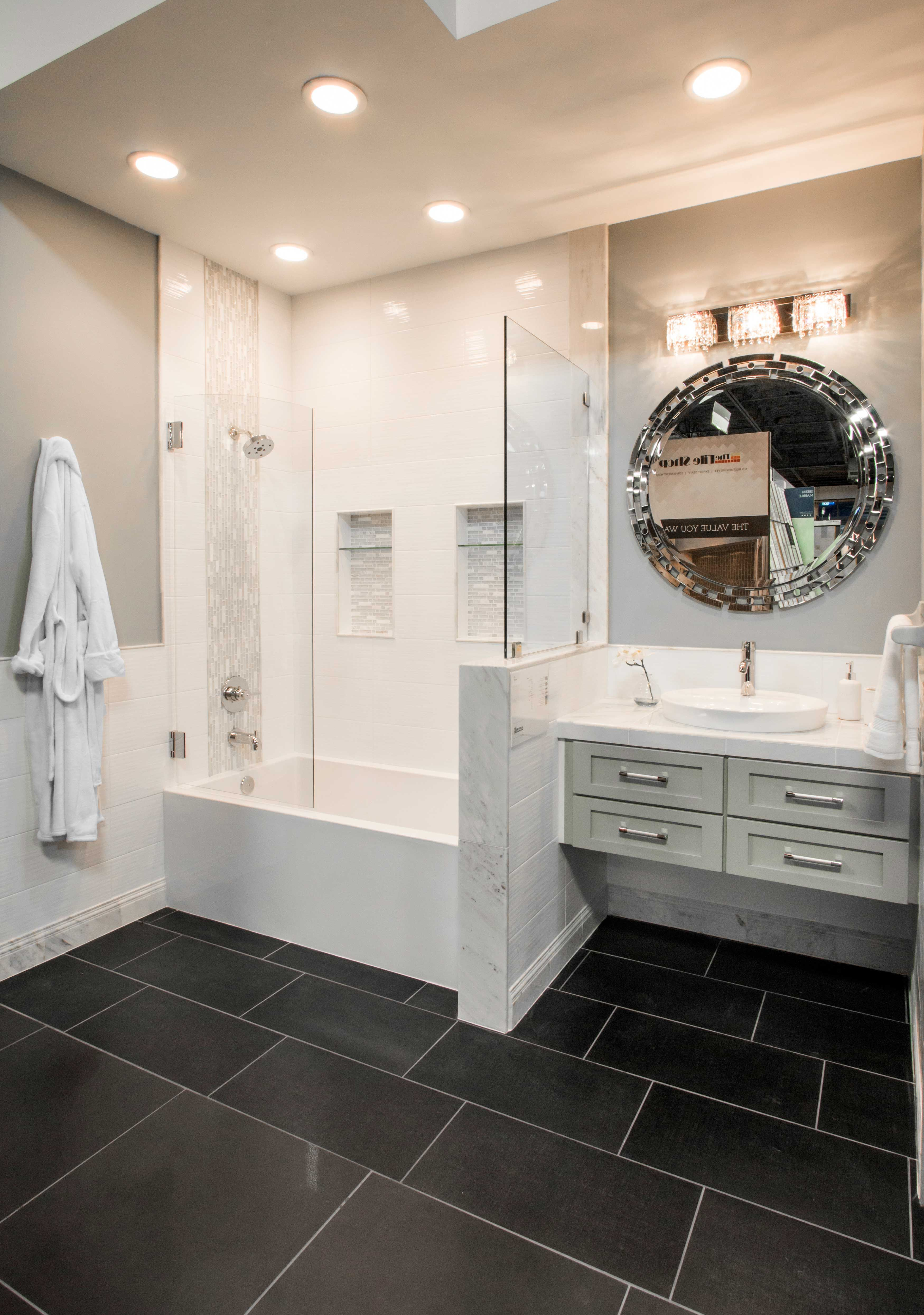 Black bathroom floor tile Contempo Midnight Tile Black