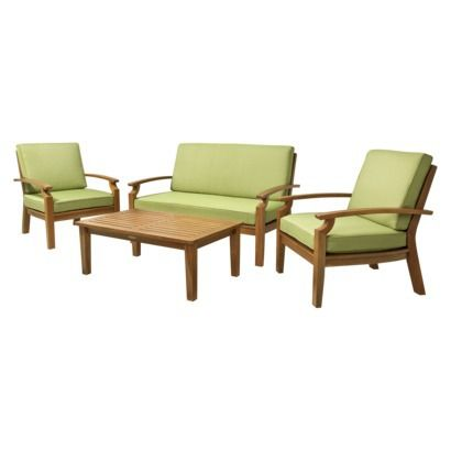 Smith & Hawken Brooks Island 4 Piece Wood Patio Conversation