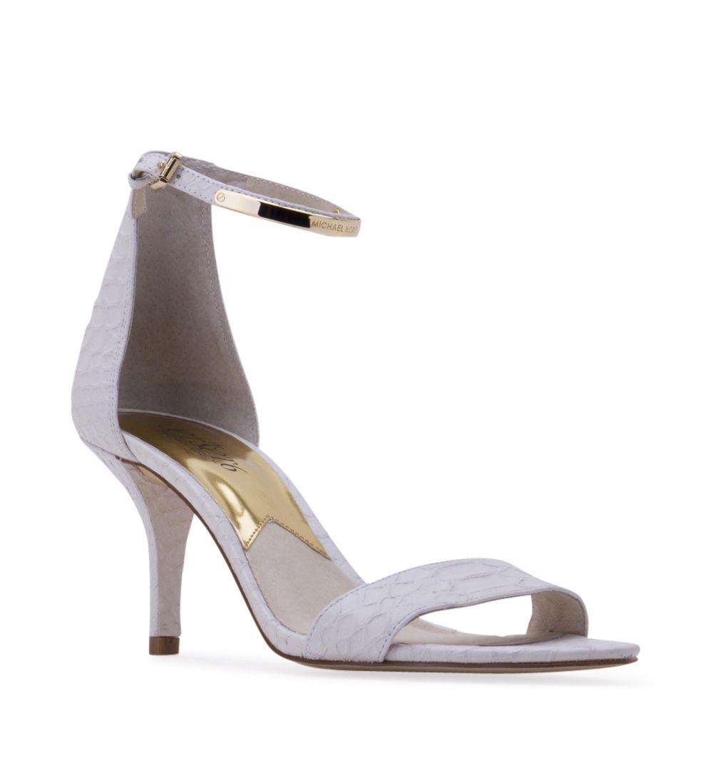 dad6c66f85f2 Women s MICHAEL KORS Kristen Mid Heel Sandal - White - Shiny patent leather.  3