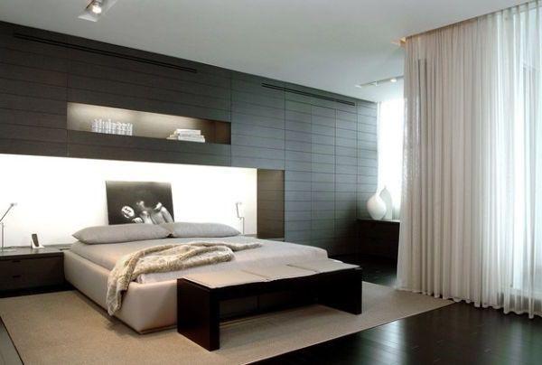 Schlafzimmer Sitzbank ~ Minimalistischen schlafzimmer mit einer bank schlafzimmer