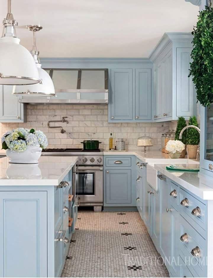 Pin By Gemma London Life On My Cottage Kitchen Kitchen Design Blue Kitchen Cabinets Interior Design Kitchen