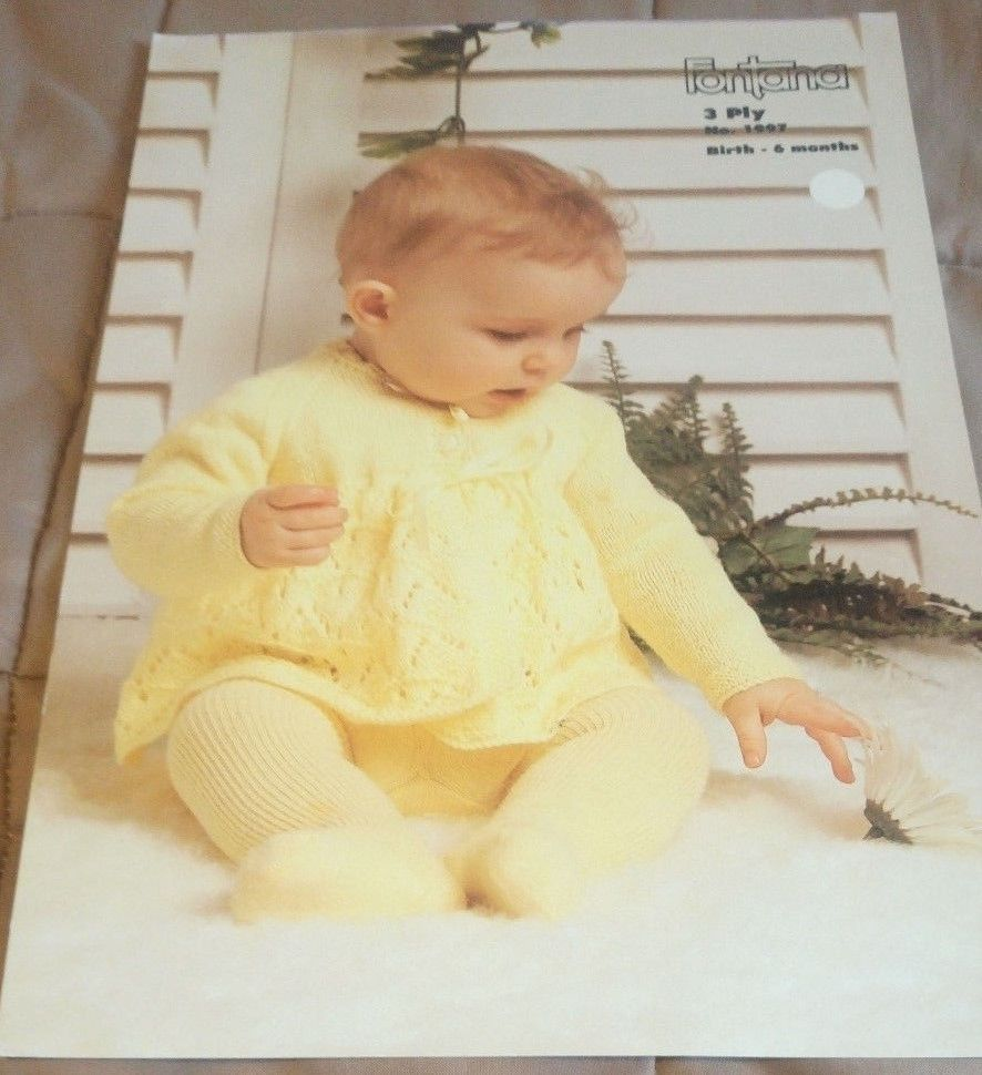 Baby Matinee Jacket 1-piece to Armhole Fontana 1997 knitting pattern ...
