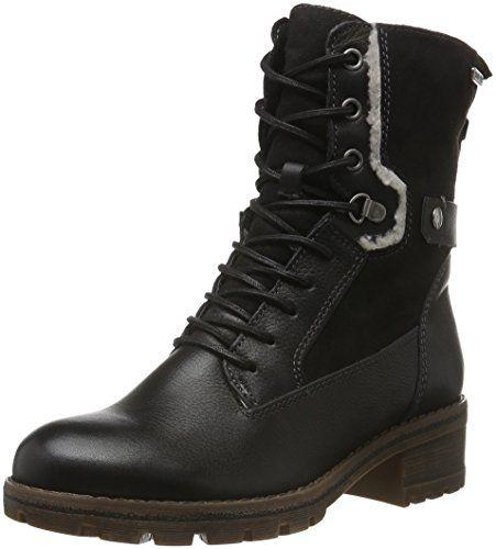 Tamaris Womens Talues Combat BootBlack LeatherTextileEU 41 M