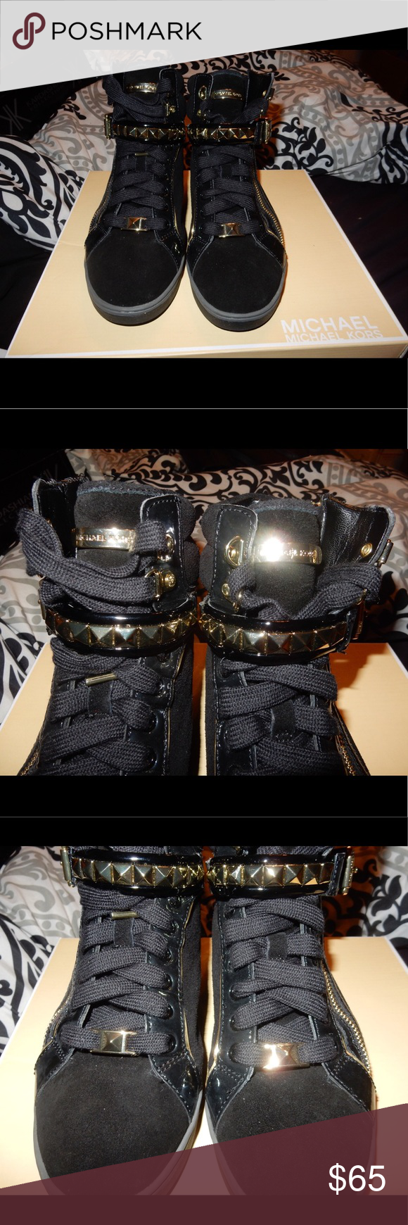MK Glam Studded High Top Sneakers NEVER WORN BEFORE! Impulse buy!                                               A mix of suede and liquid-shine patent finishes add to the drama of a statement high-top sneaker finished with edgy pyramid studs. Adjustable strap with buckle and lace-up closures; side-zip gore. Suede and synthetic upper/textile lining/rubber sole MICHAEL Michael Kors Shoes Sneakers