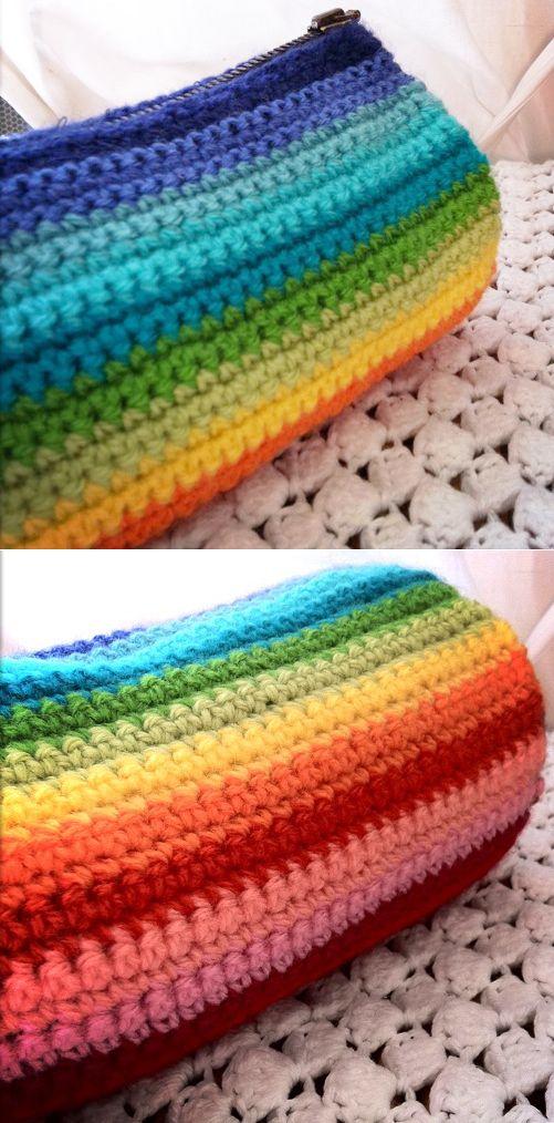 Dégradé multicolore au crochet - Isabelle Kessedjian : une trousse.