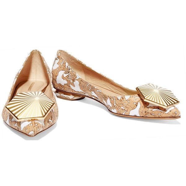 Nicholas Kirkwood Eden embellished cork and faille point-toe flats ($440) ❤ liked on Polyvore featuring shoes, flats, white slip on shoes, slip on shoes, cork flats, flat pointed toe shoes and white pointed toe flats