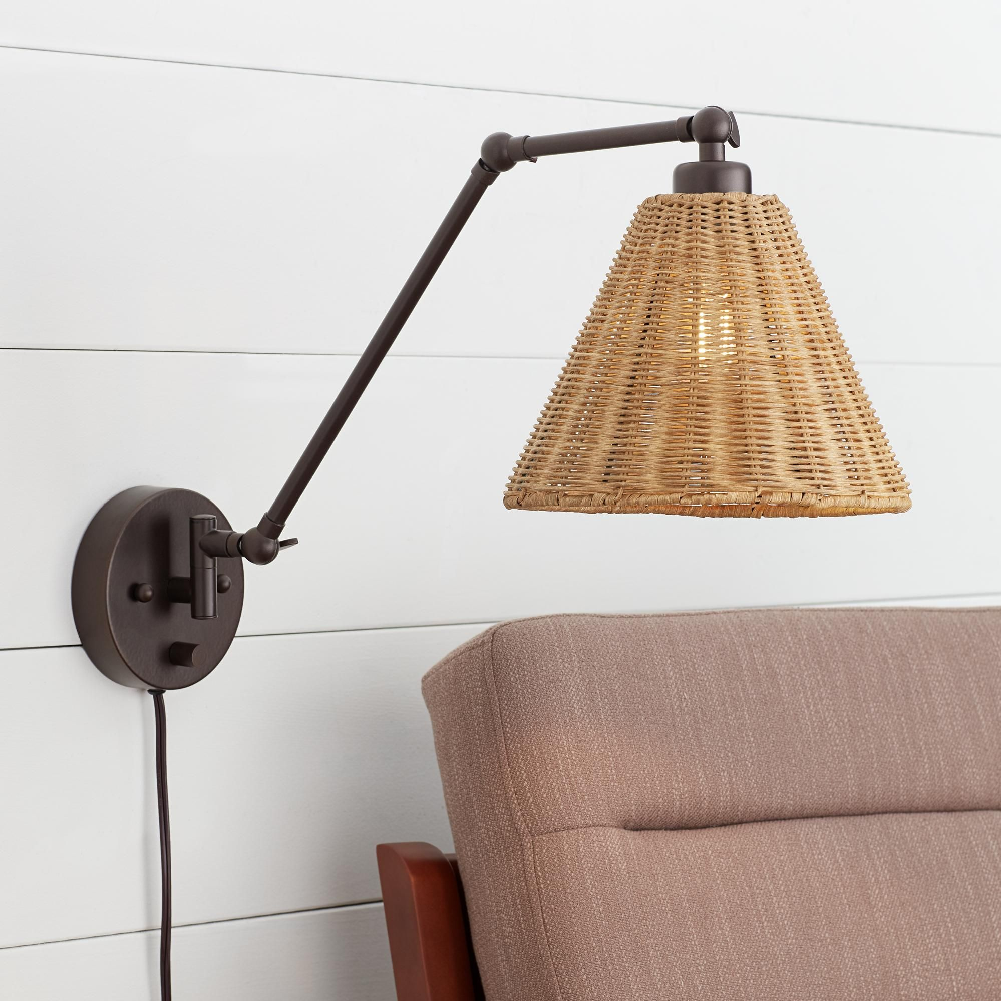 Wall Lamps Rowlett Bronze Rattan Shade Plug In Wall Lamp In 2020 Plug In Wall Lamp Rattan Shades Plug In Wall Sconce