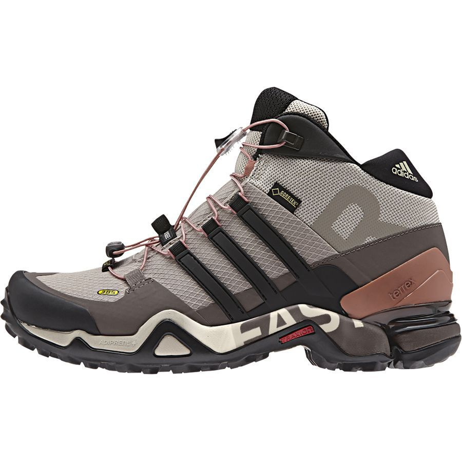 Adidas Outdoor Terrex Fast R Mid Gtx Hiking Boot Women S Vapour Grey Black Tech Earth Hiking Boots Boots Backpacking Boots