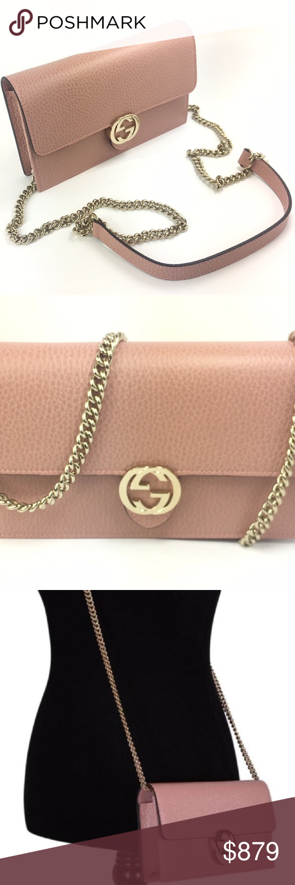 Gucci  510314 GG Closure Chain Crossbody Wallet - Soft Pink Textured Leather  Exterior - Flap c72006e6b4950
