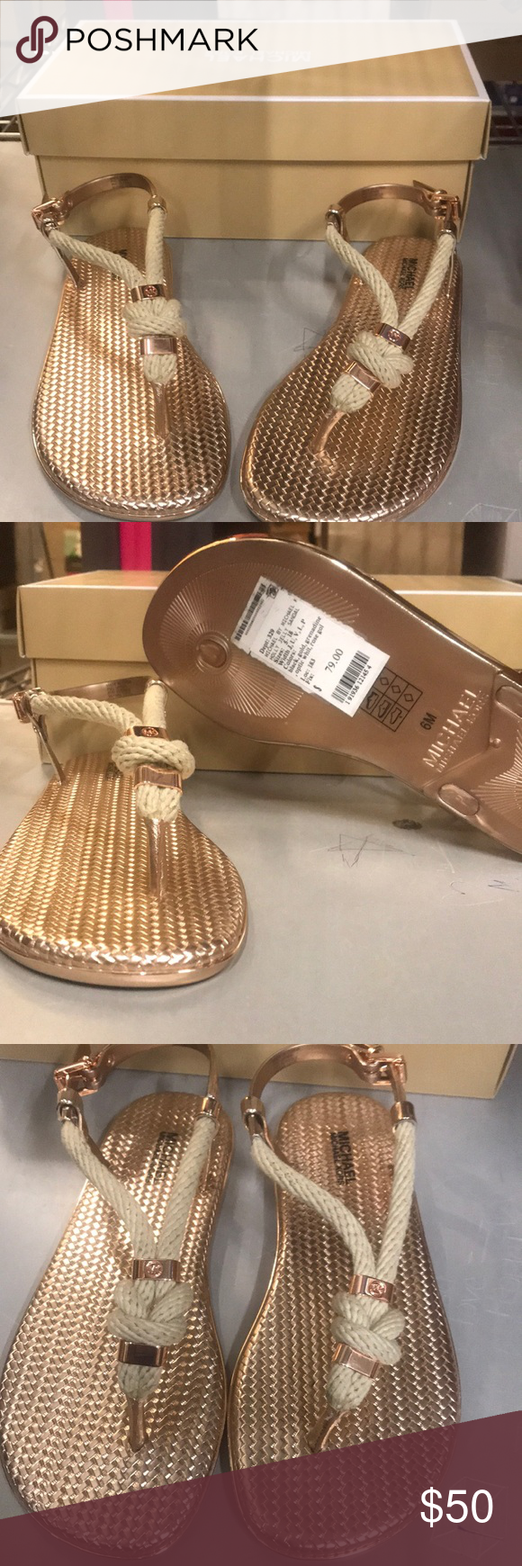 56a6e9093bdd Michael Kors Rose Gold Holly Jelly Sandal Rose gold sandals with a rope  design. Brand
