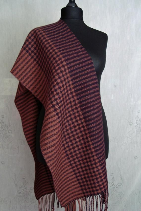 Handwoven striped and checkered scarf fringe women, Merino wool warm shawl, Terracotta dark plum pla