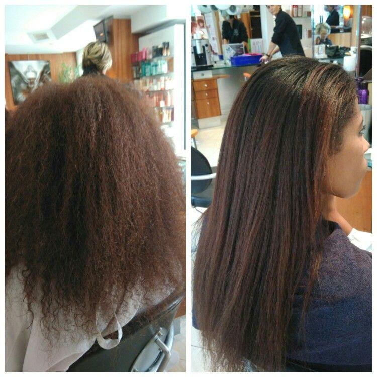 Lissage a la keratine cheveux boucles