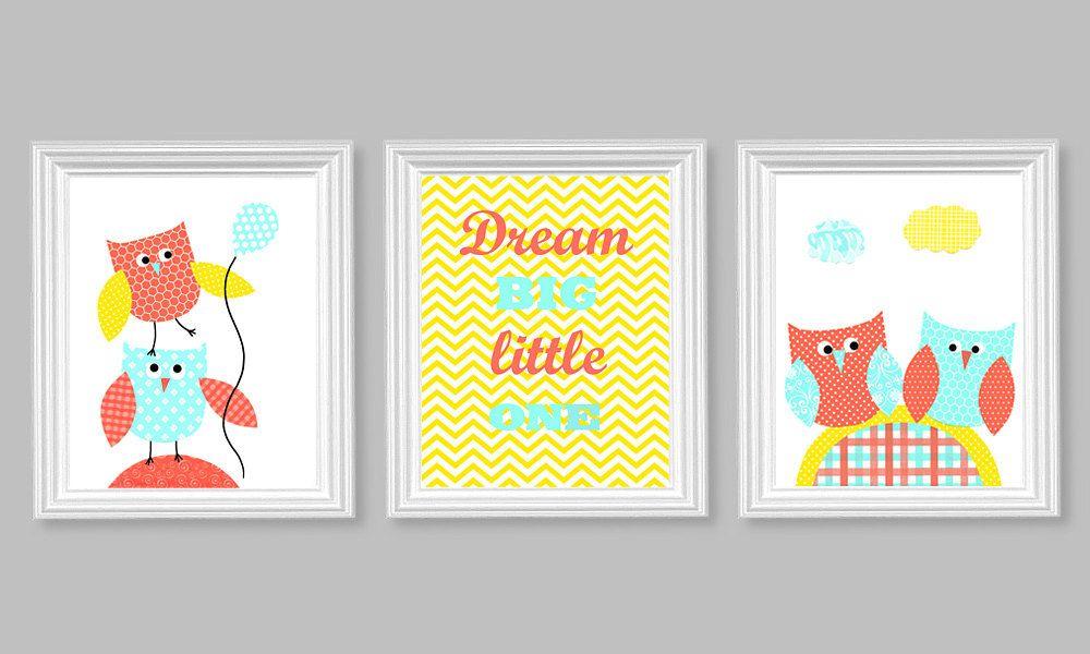 Aqua Coral Yellow Owl Nursery Art, Girl\'s Room Decor, Dream Big ...