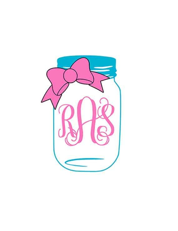 Mason Jar Svg Bow Mason Jar Monogram Svg Svg Files For
