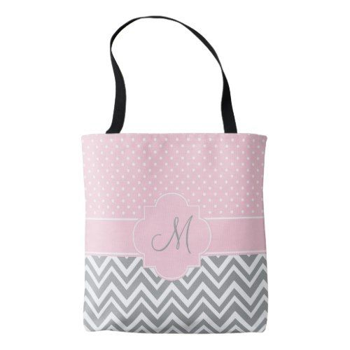 f3130e694 Monogram Grey Chevron with Pastel Pink Polka Dot Tote Bag | Zazzle ...