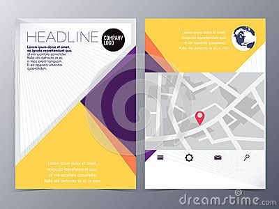 Abstract Yellow Geometric Flyer Design Template Vector Mock Up