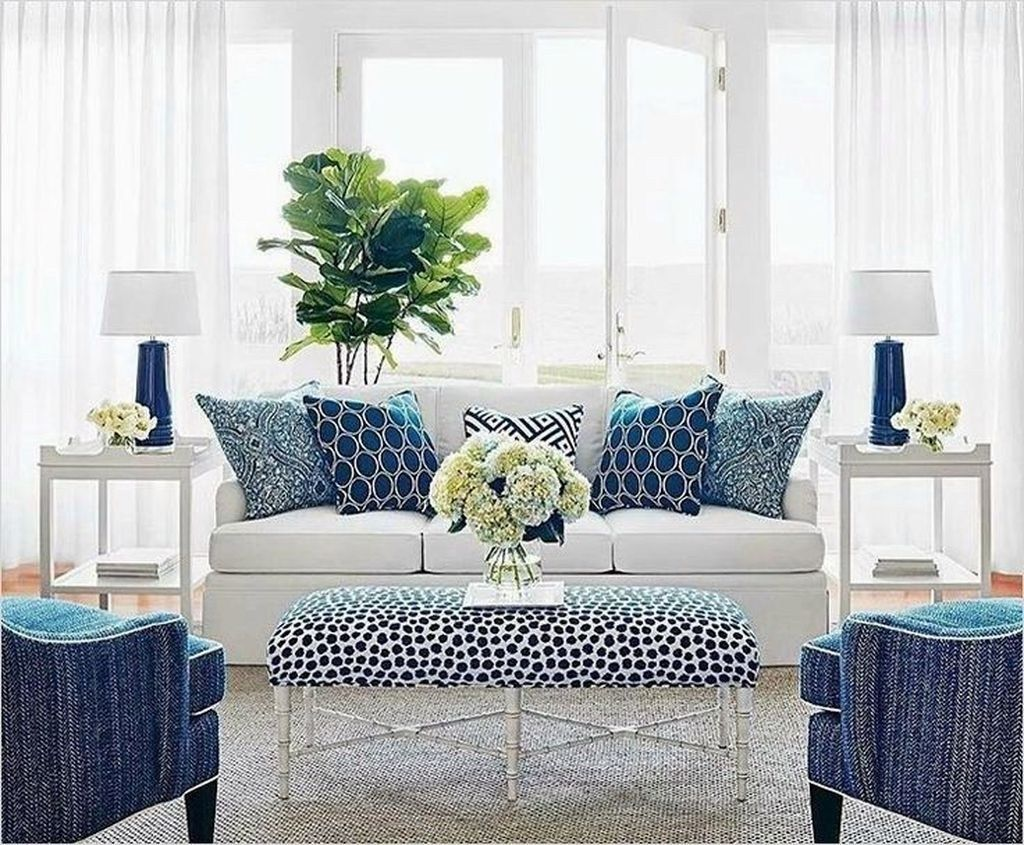 Affordable Blue And White Home Decor Ideas Best For Spring Time 18 Homyhomee Blue And White Living Room Coastal Decorating Living Room Coastal Style Living Room