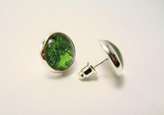 CIRCUITOS pequeña plata pendientesTecnología por HighwayGlass
