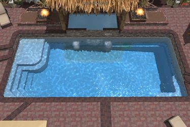 Rectangle fiberglass pool tanning ledge pool party for Pool design with tanning ledge