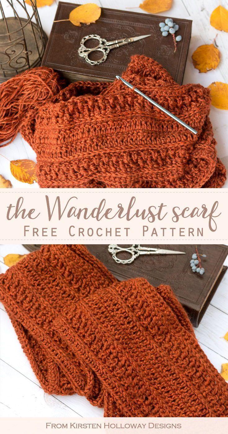Easy Wanderlust Scarf Crochet Pattern for Men or Women