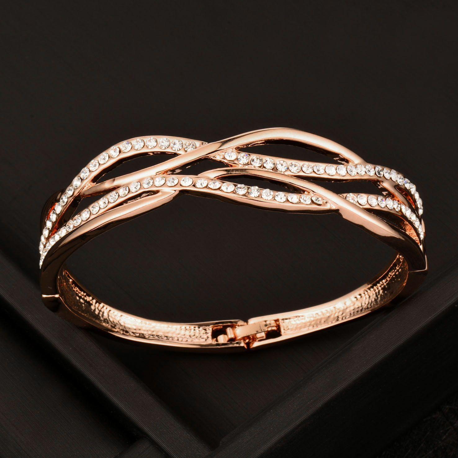 Luxury design crystal hollow cross women bangle bracelets k rose