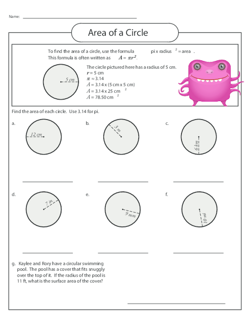 Area Of A Circle Worksheet 1 Elementry School Math Worksheets