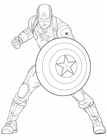 Coloriage Captain America Civil War.Avengers Captain America Coloring Page From Marvel S The