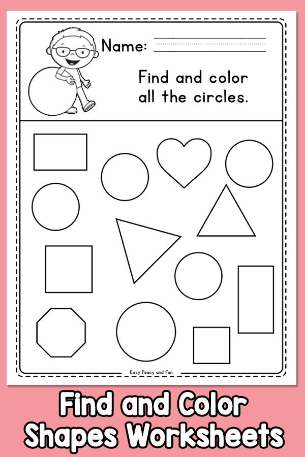 Find And Color Shapes Worksheets Shapes Worksheet Kindergarten, Shapes  Kindergarten, Shapes Worksheets