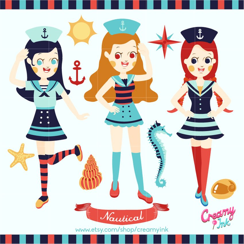 Girls nautical digital clip art featuring three sailors, seashells, anchor and more. #clipart #vector #design See more at CreamyInk.etsy.com