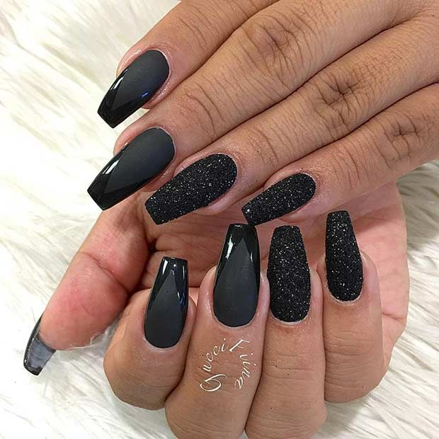 Edgy Matte Black Coffin Nail Design