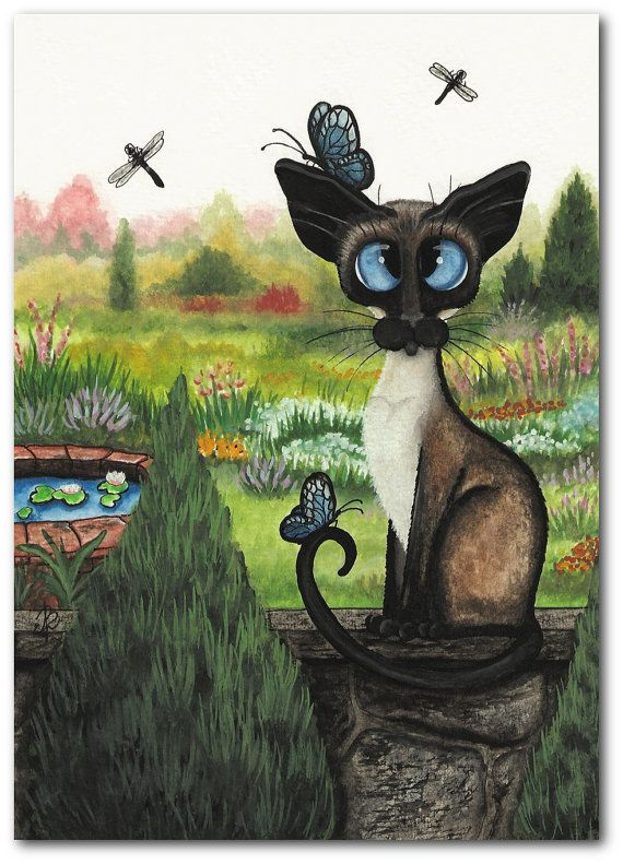 Siamese Cat The Garden Pet ArT 5x7 Print by by AmyLynBihrle, $16.99