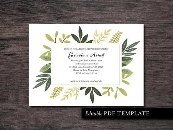 Botanical Bridal Shower Invitation Template Botanical Shower - bridal shower invitation templates download