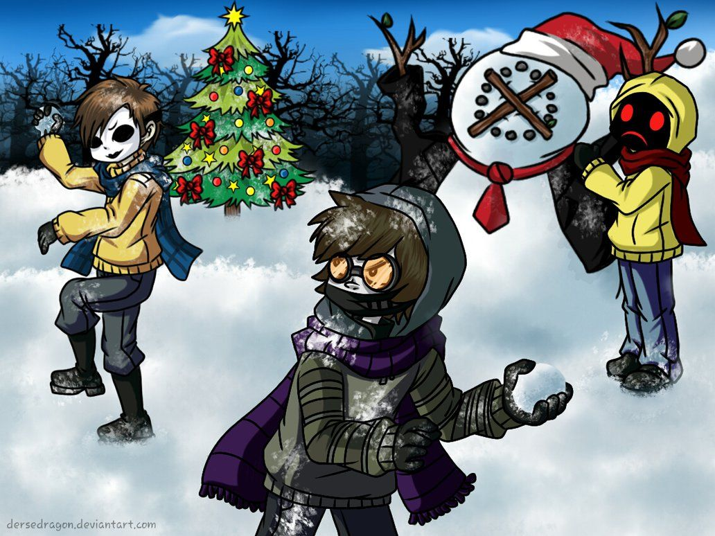 Marry Christmas ^-^ Toby: Time for food Hoodie: And snow Masky: And ...