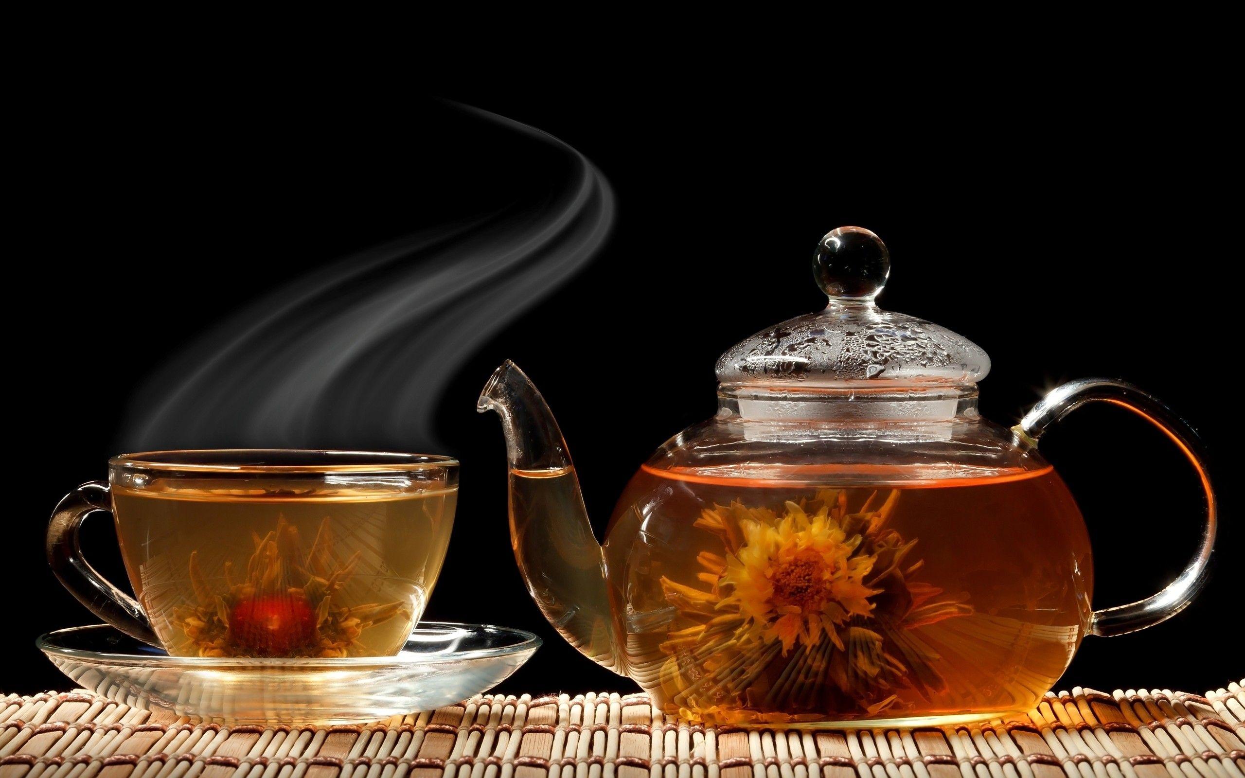 Обои мята, чай, чайник, доски. Еда foto 13