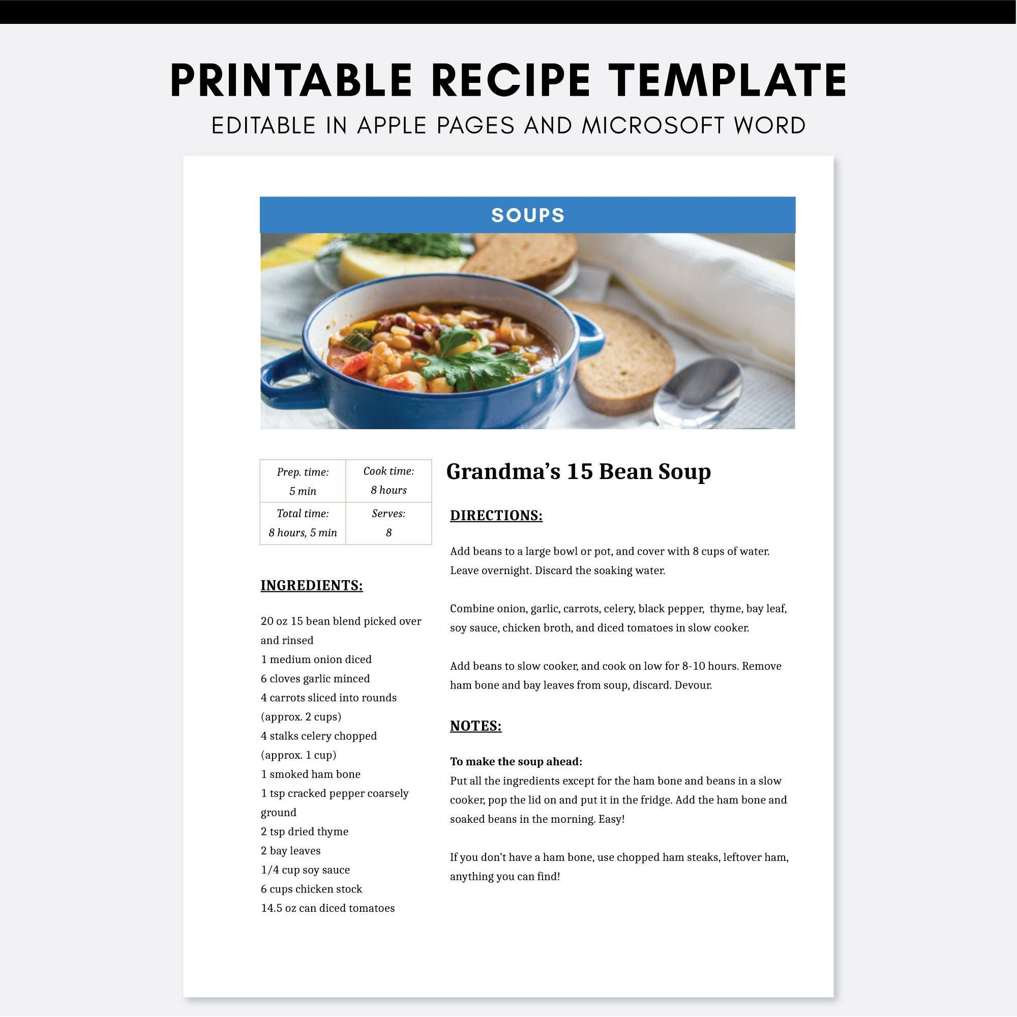 Editable Recipe Pages Apple Pages Microsoft Word Cookbook Etsy Recipe Template Food Printables Homemade Cookbook
