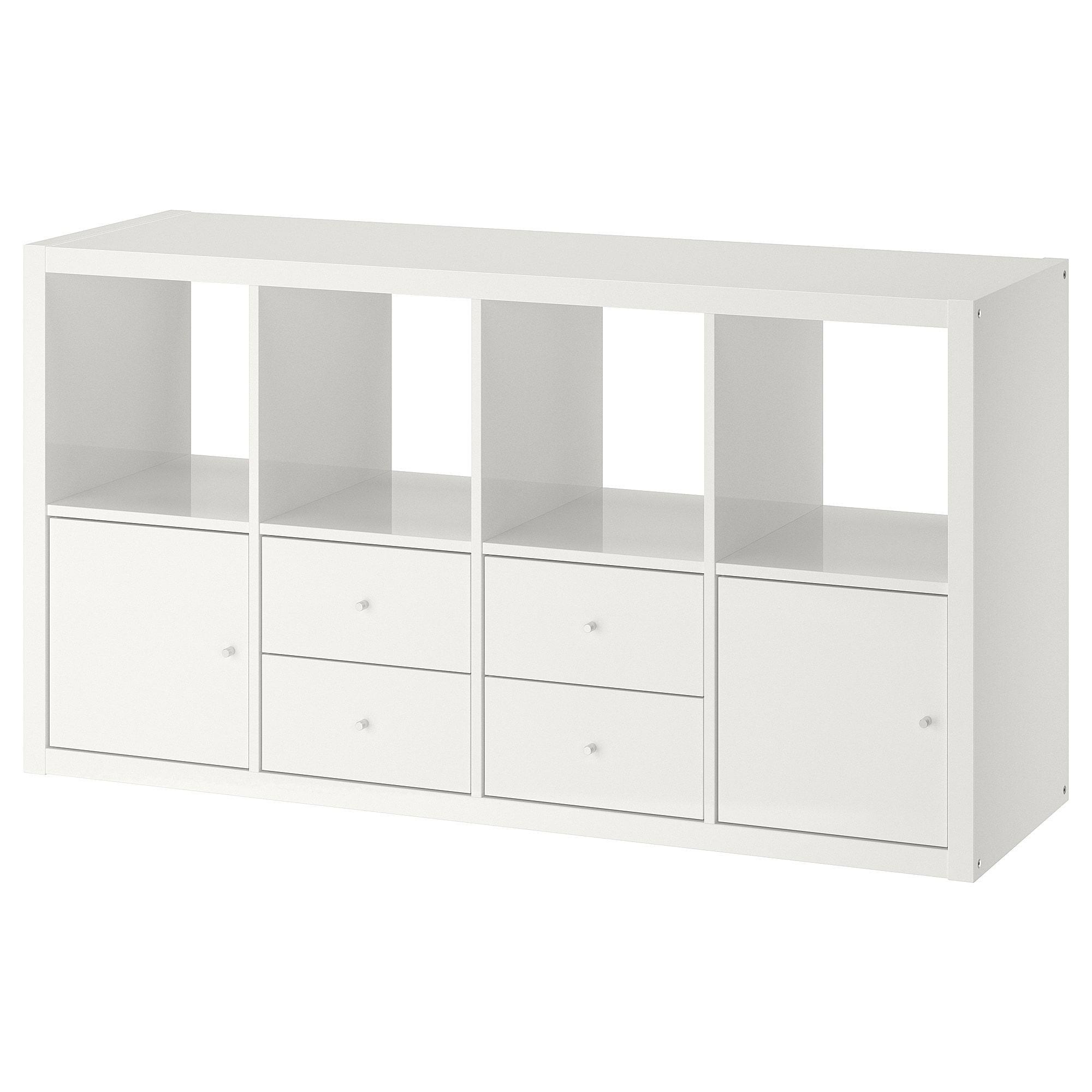Kallax Regal Mit 4 Einsatzen Hochglanz Weiss Kallax Regal Ikea