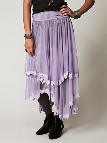 NEW! FREE PEOPLE Gorgeous Floral Lace MESH HALF SLIP Asymetrical SKIRT