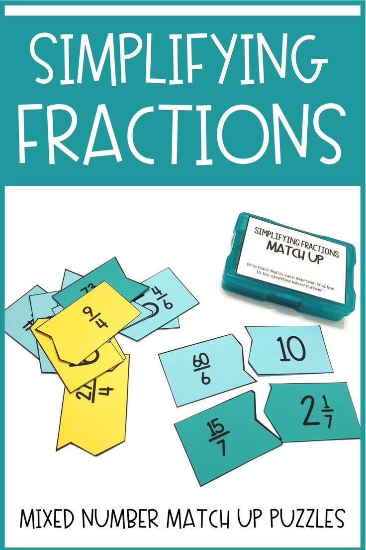 Simplifying Fractions Match-Up | Early finishers activities, Early ...