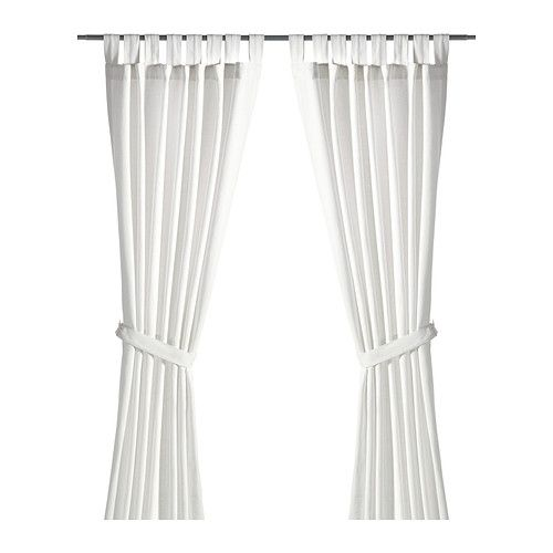 lenda curtains with tiebacks 1 pair bleached white