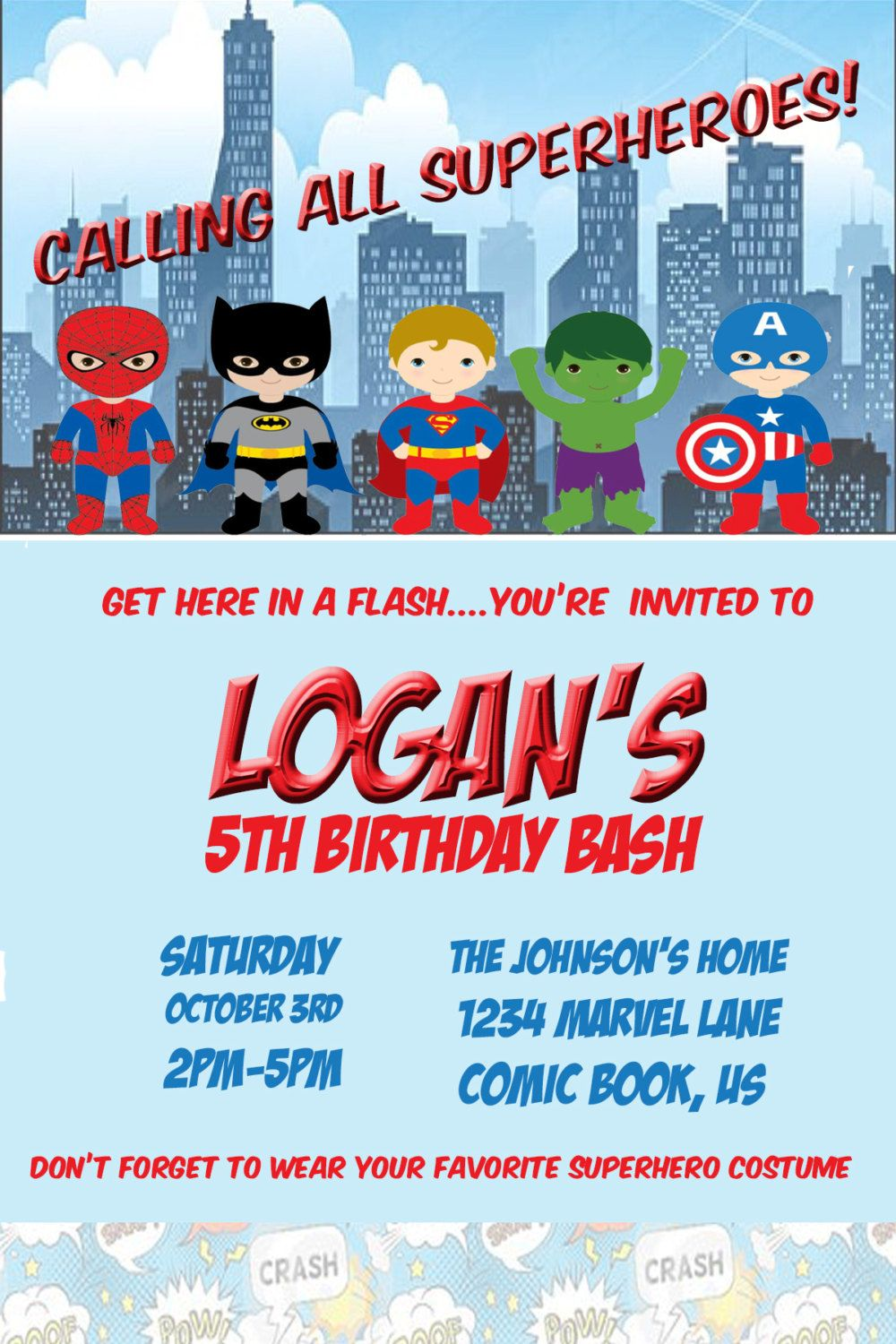 Superhero Birthday Party Invitation Digital Printable Customizable By WonderDreamDesigns On Etsy
