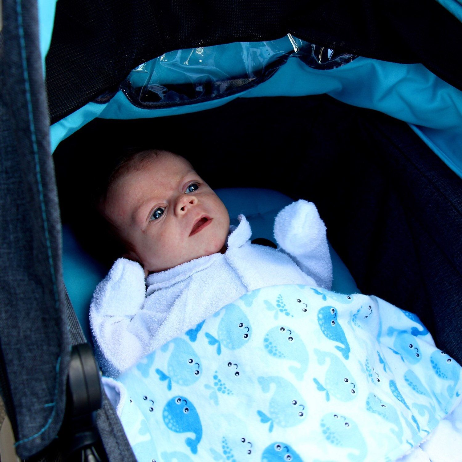 Baby Lucas wrapped up in the Jonah Newborn Baby Blanket