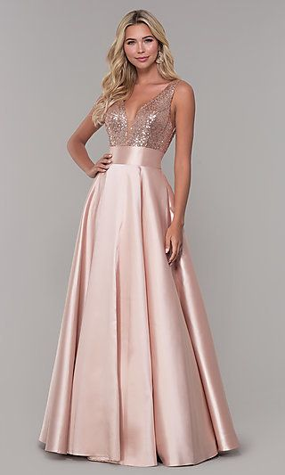 Dave and Johnny Long Prom Dress with Sequin Bodice