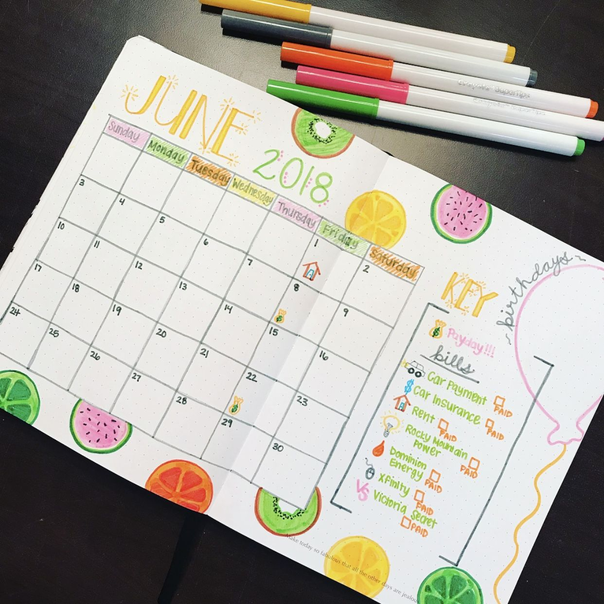 Photo of June Bullet Journal- Monthly Calendar
