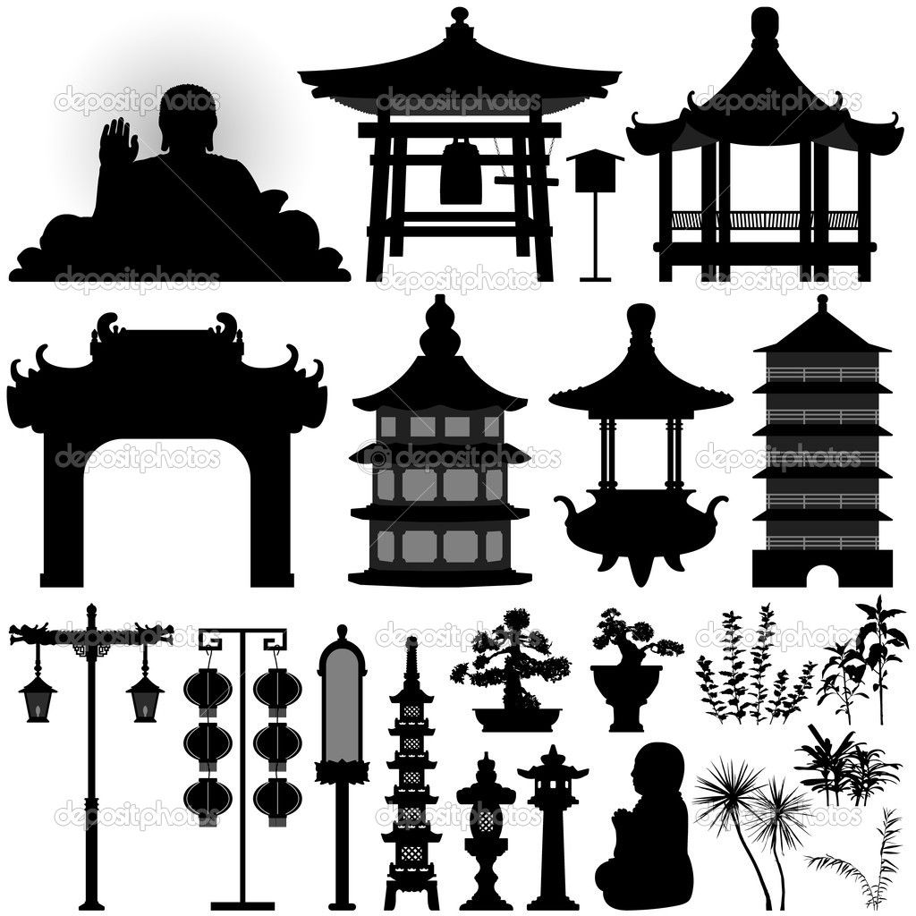pagoda silhouette Chinese Asian Temple Shrine Relic