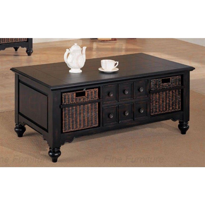 Union Square Wicker Basket Storage Black Coffee Table
