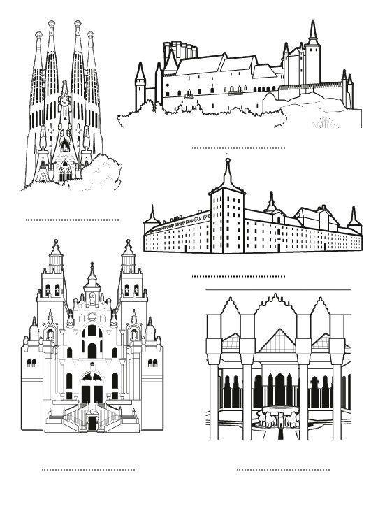 España: dibujo para colorear e imprimir | Monumentos plurilingüisme ...