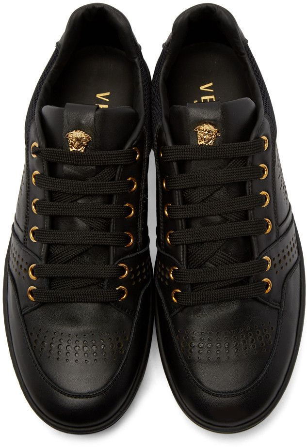 ec353fb8160 Versace Black Leather Perforated Sneakers